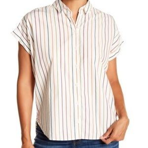 Madewell short sleeve stripe button down